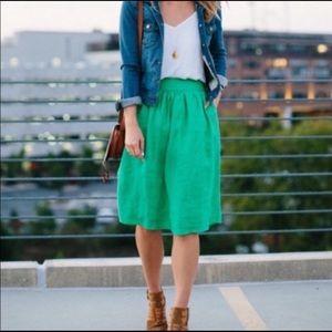 J. Crew Green Easy Linen Midi Skirt (With Ties)